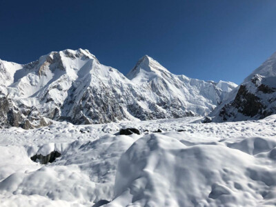 Fresh snow over Khan Tengri and the glacier | © SummitClimb Khan Tengri